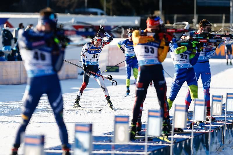 Ondřej Moravec ve stíhacím závodu mužů na 12,5 km.