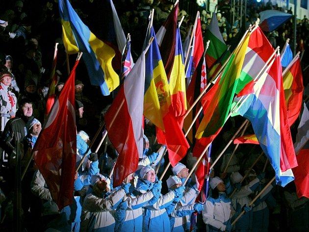 Slavnostní zahajovací ceremoniál Mistrovství světa v biatlonu v Novém Městě na Moravě.