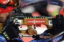 Světový pohár v biatlonu, závod smíšených štafet, 6. února v Novém Městě na Moravě. Český reprezentant Michal Šlesingr.