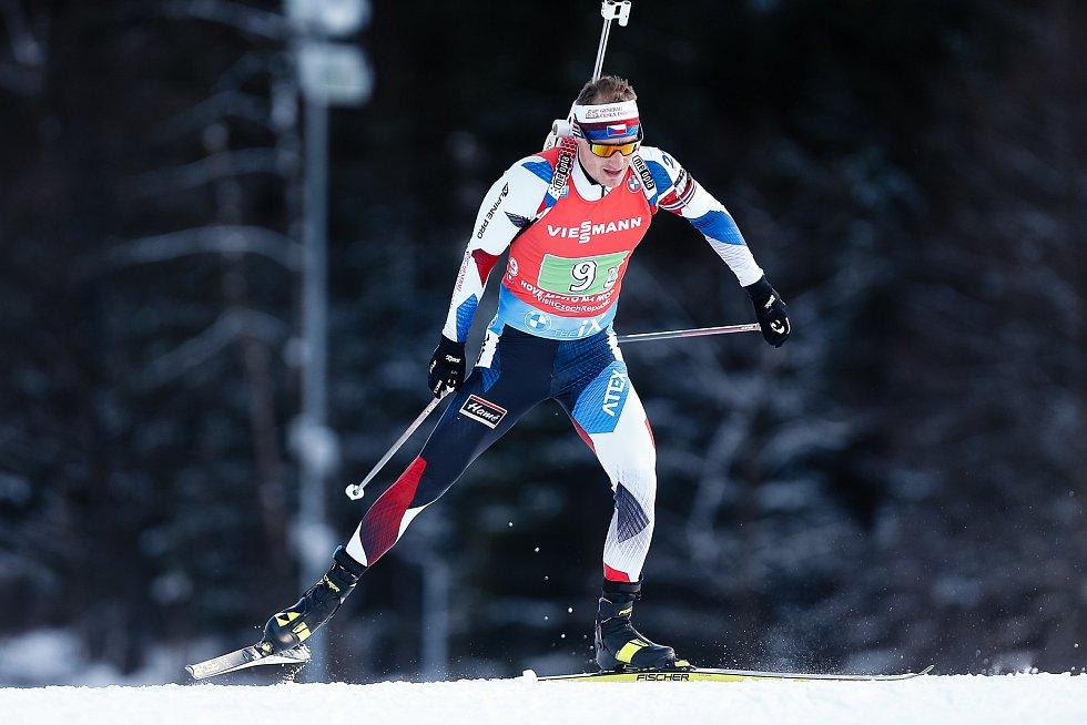 Ondřej Moravec v závodu Světového poháru v biatlonu - štafeta 4 x 7,5 km mužů.