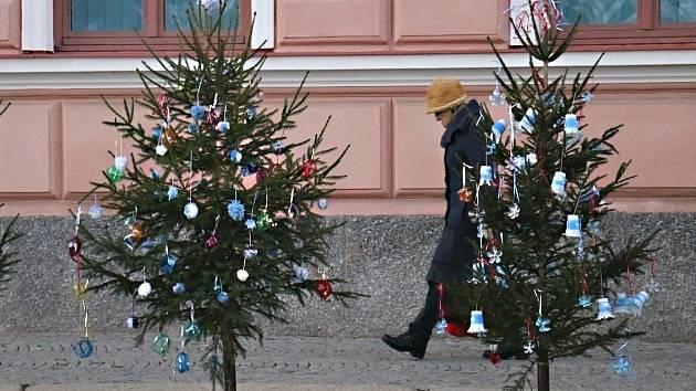 Novoměstské náměstí zdobí hned několik nazdobených vánočních stromků