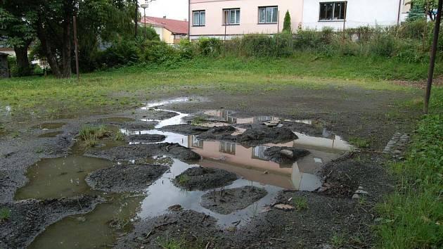 Stávající hřiště v parku je ve zbědovaném stavu.