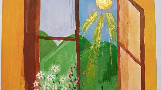 Děti nakreslily či namalovaly spoustu obrázků, které potěší klienty Charity. Autorkou je Libuška.