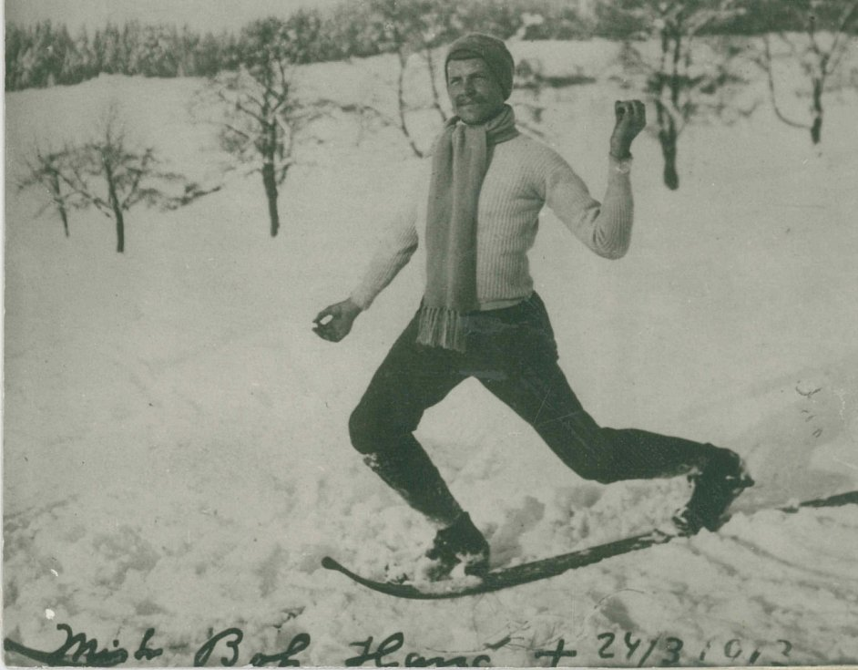 Bohumil Hanč, první instruktor novoměstských lyžařů.