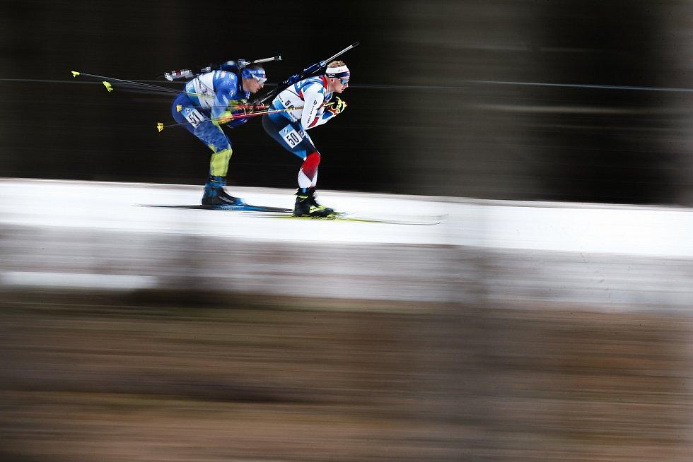 Vítězslav Hornig v závodu Světového poháru v biatlonu - stíhací závod mužů na 12,5 km.