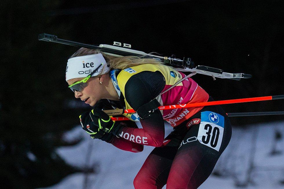 Tiril Eckhoffová závodu Světového poháru v biatlonu v závodu sprintu žen na 7,5 km.