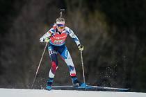 Markéta Davidová v závodu Světového poháru v biatlonu ve smíšené štafetě.