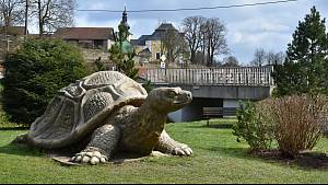 Památkově chráněný svatostánek v Obyčtově, jehož půdorys je zformovaný do tvaru želvy, navrhl na popud opata Velmluvy Jan Blažej Santini Aichl. Obří betonová želva je umístěna v parku u řeky.