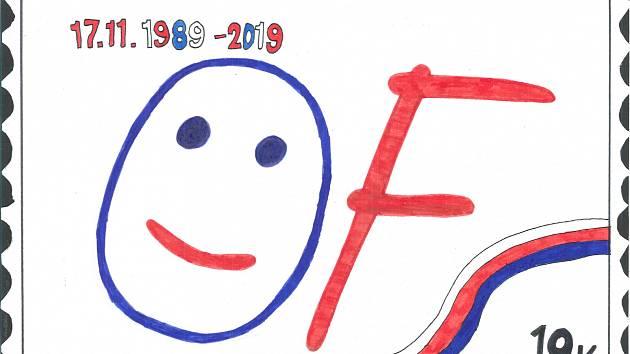 Osmáci malovali známku.