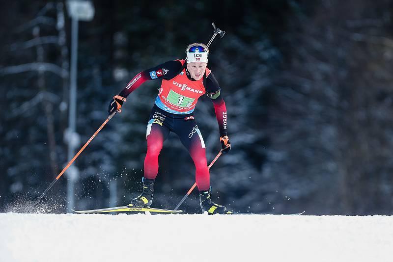 Johannes Dale v závodu Světového poháru v biatlonu - štafeta 4 x 7,5 km mužů.
