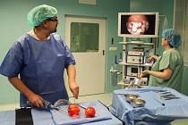 """Při představení nové artroskopické věže sponzorům primář ortopedického oddělení Jaroslav Pilný """"operoval"""" papriku. Na monitoru přístroje bylo zřejmé, jak to vypadá uvnitř plodu."""