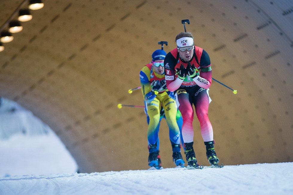 Závod SP v biatlonu (štafeta mužů 4 x 7,5 km) v Novém Městě na Moravě.