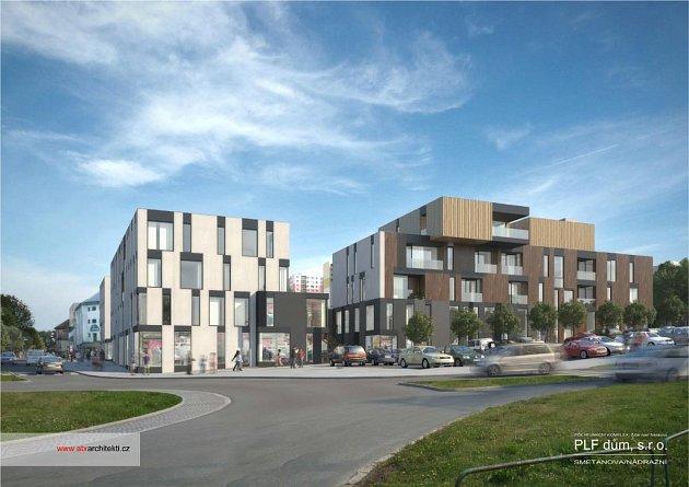 Takto vypadá představa společnosti PLF dům o řešení polyfunkčního komplexu na pozemku před střední zdravotnickou školou ve Žďáře.