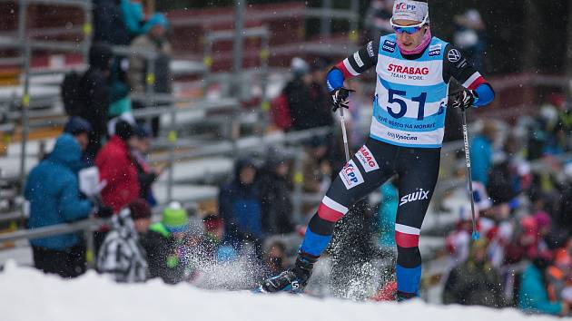 Petra Hynčicová v závodu žen na 10 km volně v rámci Světového poháru v běhu na lyžích.