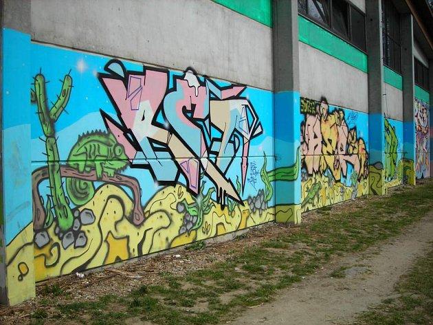 Žďárští sprejeři si od Radslava Kinského pro vytváření svého umění pronajali zadní stěnu obchodu na ulici Bezručova.