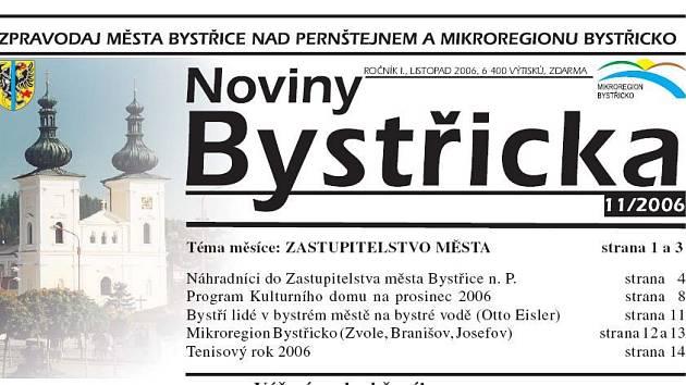 Radniční noviny Bystřice nad Pernštejnem.