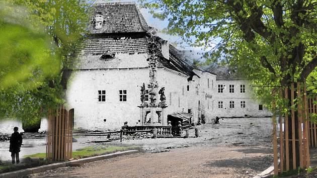 """Na snímku jsou historické budovy někdejšího Špalíčku na """"horním"""" náměstí zanesené do současného stavu náměstí Republiky, pohled od kostela. Domy Špalíčku byly zbourány až v 70. letech minulého století."""