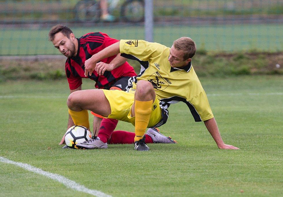 Čtvrtfinále krajského poháru mezi Bohdalovem a Moravcem.