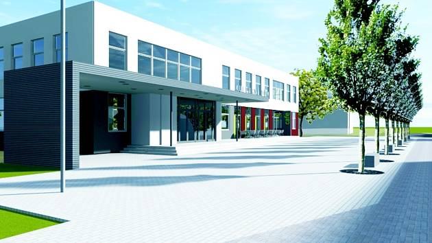 Vizualizace návrhu nového vzhledu bystřického kulturního domu.