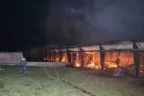 Požár vepřína v Borku.