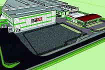 3D vizualizace rozšířeného areálu LPVM. Vpravo zepředu parkoviště a krytý sklad, za nimi administrativní budova, nástrojárna a stávající výrobní hala. V části nalevo vyroste nová skladovací hala (budova vpředu) s kapacitou 5000 EURO-palet.