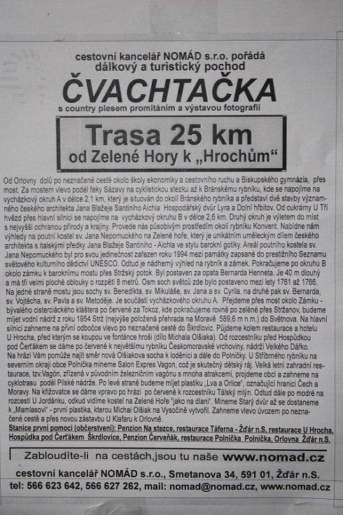 """Pětadvacetikilometrový výšlap od Zelené hory k """"Hrochům""""."""