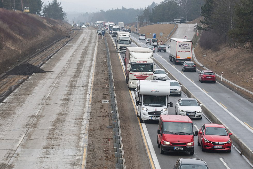 Modernizace dálnice D1 na Vysočině.
