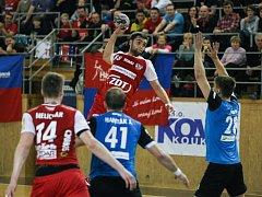 Utkání házené mezi extraligovými týmy TJ Sokol Nové Veselí a SKKP Handball Brno.