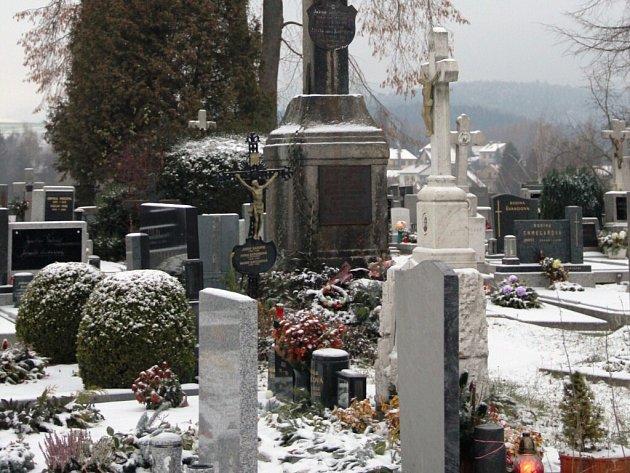 Na novoměstském hřbitově.