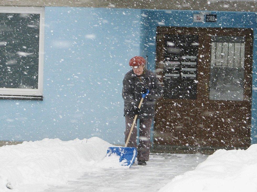 Sněžení ve Žďáře nad Sázavou.