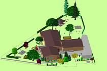 Na přebudování zahrady u školky (na snímku) usilují v Ostrově o dotaci, úpravy hřbitova hradí ze svého rozpočtu.