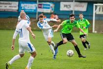 V generálce na nový ročník Moravskoslezské fotbalové ligy se hráčům Nového Města (v zelených dresech) příliš nedařilo.