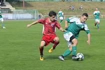 Fotbalisté Bystřice (v červeném) doma v sobotu zdolali Boskovice 4:2.