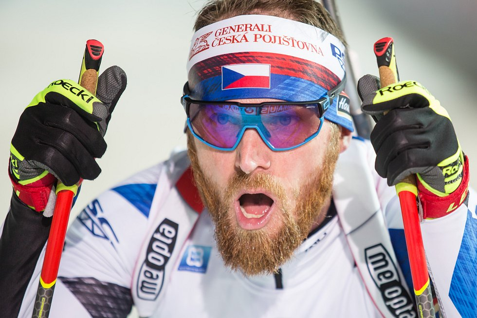 Závod SP v biatlonu (sprint 10 km muži) v Novém Městě na Moravě. Na snímku: Michal Šlesingr.