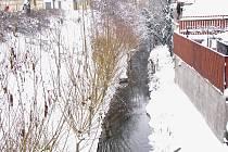 Zima na Velkých Valech v Nymburce.