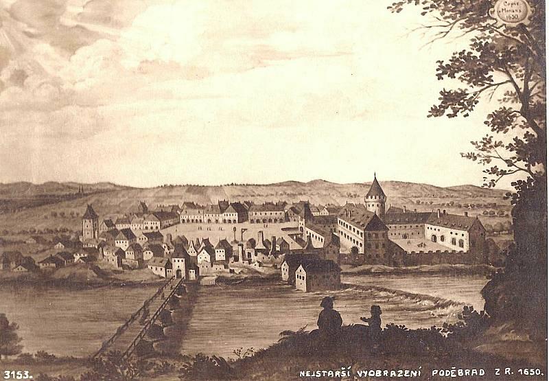 Zobrazení Poděbrad z roku 1650.