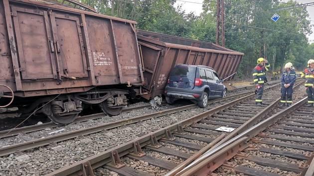 Železniční nehoda ve Mstěticích na Praze-východ 14. srpna 2020.