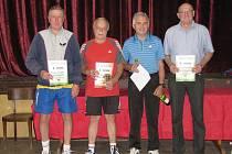 NEJLEPŠÍ. Zleva jsou druhý Miroslav Křepela, vítězný Stanislav Havránek, třetí  Luboš Salavec a Libor Vondruška.
