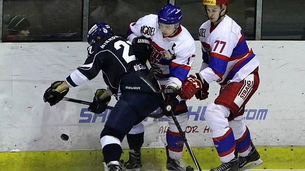 Z hokejového utkání druhé ligy Nymburk - Tábor (3:1)