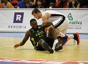 Z basketbalového utkání Ligy mistrů Nymburk  Aris Soluň (99:70)