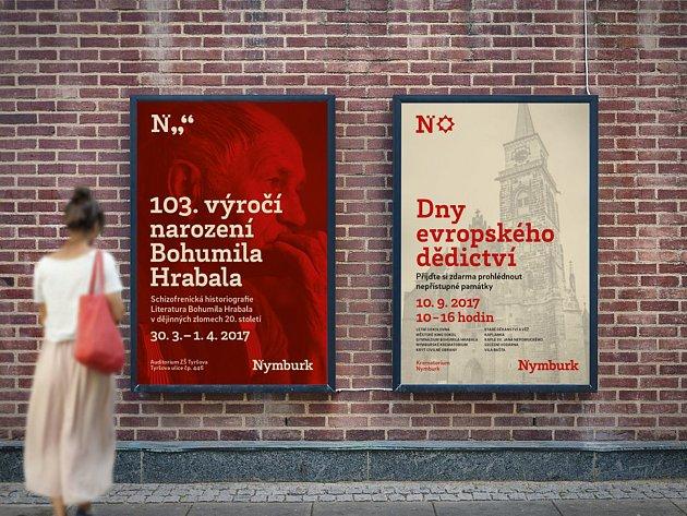 Červeně laděná vizuální identita působí minimalisticky a moderně.