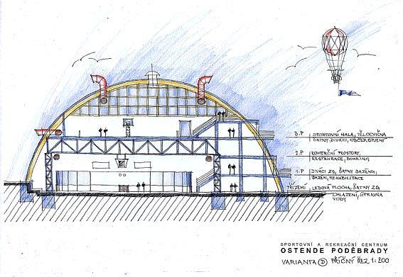 Zimní stadion jako multifunkční hala, kde je všechno. To je varianta D (na malém snímku). Dole je návrh, který počítá s vybudováním nové haly místo nafukovačky, bazénem i venkovním bazénem s tobogánem.