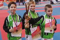 BRONZOVÍ KARATISTÉ. Karel Blažej, Luděk Melich a Lukáš Živnůstka skončili v kumite žáků na třetím místě