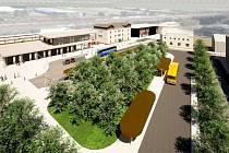 Vizualizace: historická varianta nymburského nádraží.
