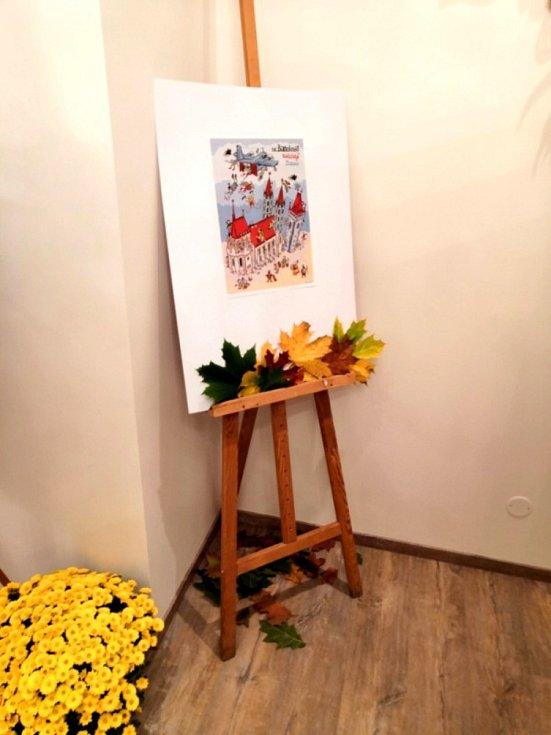 O posvícení si v obřadní síni mohli zájemci prohlédnou obrázky Jiřího Vančury.
