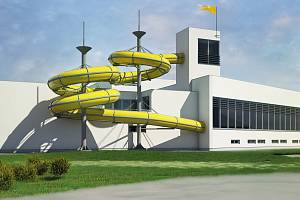 Oprava bazénu je nejvyšší položkou mezi letošními investicemi nymburské radnice. Na snímku jedna z vizualizací.