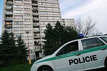 Policisté na místě, kde žena vyskočila z okna.