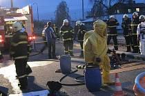 Cvičení hasičů v Křinci