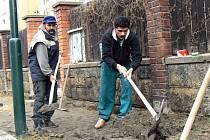 První pětice lidí se na jaře pustila do opravy chudníku v Husově ulici v Nymburce.