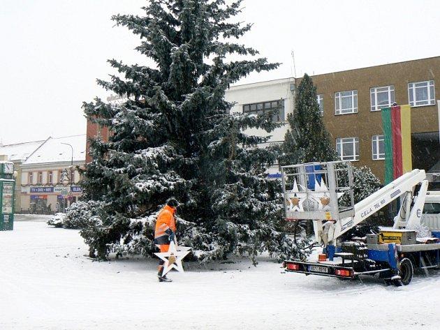 Odstrojený vánoční strom v Nymburce